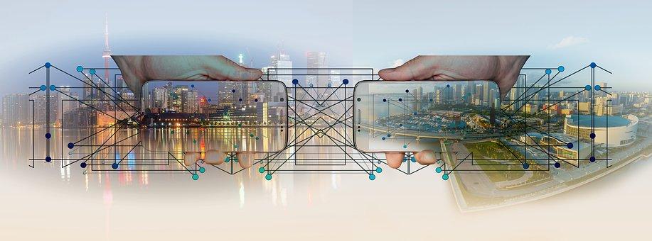 城市, 全景, 智能手机, 控制, 板, 行业, 架构, 卷筒纸, 网络, 点