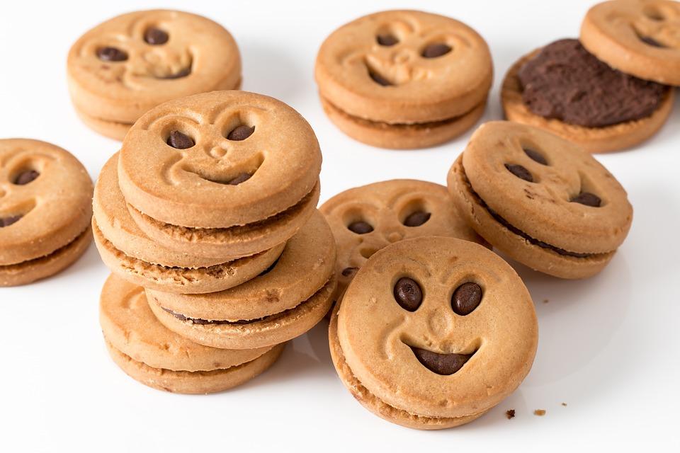 饼干, 圆, 甜, 小吃, 碳水化合物, 糖, 面包店, 不健康, 烘烤的, 甜美, 微笑, 快Tm干扰