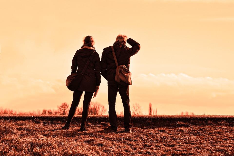 Personnes, Voyageurs, Ensemble, Debout, Destination