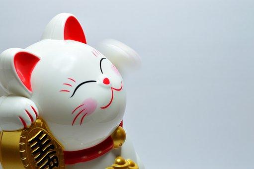 がんばって, ラッキー, フォーチュン, 文化, 猫, 伝統的です, 招き猫