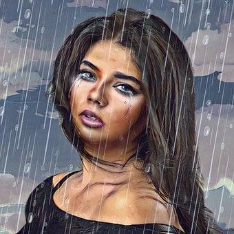 Sadness, Woman, Lady, Tears, Rain, Women