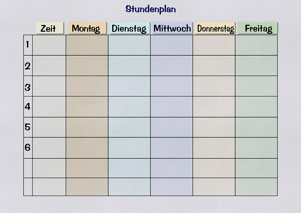 timetable template free