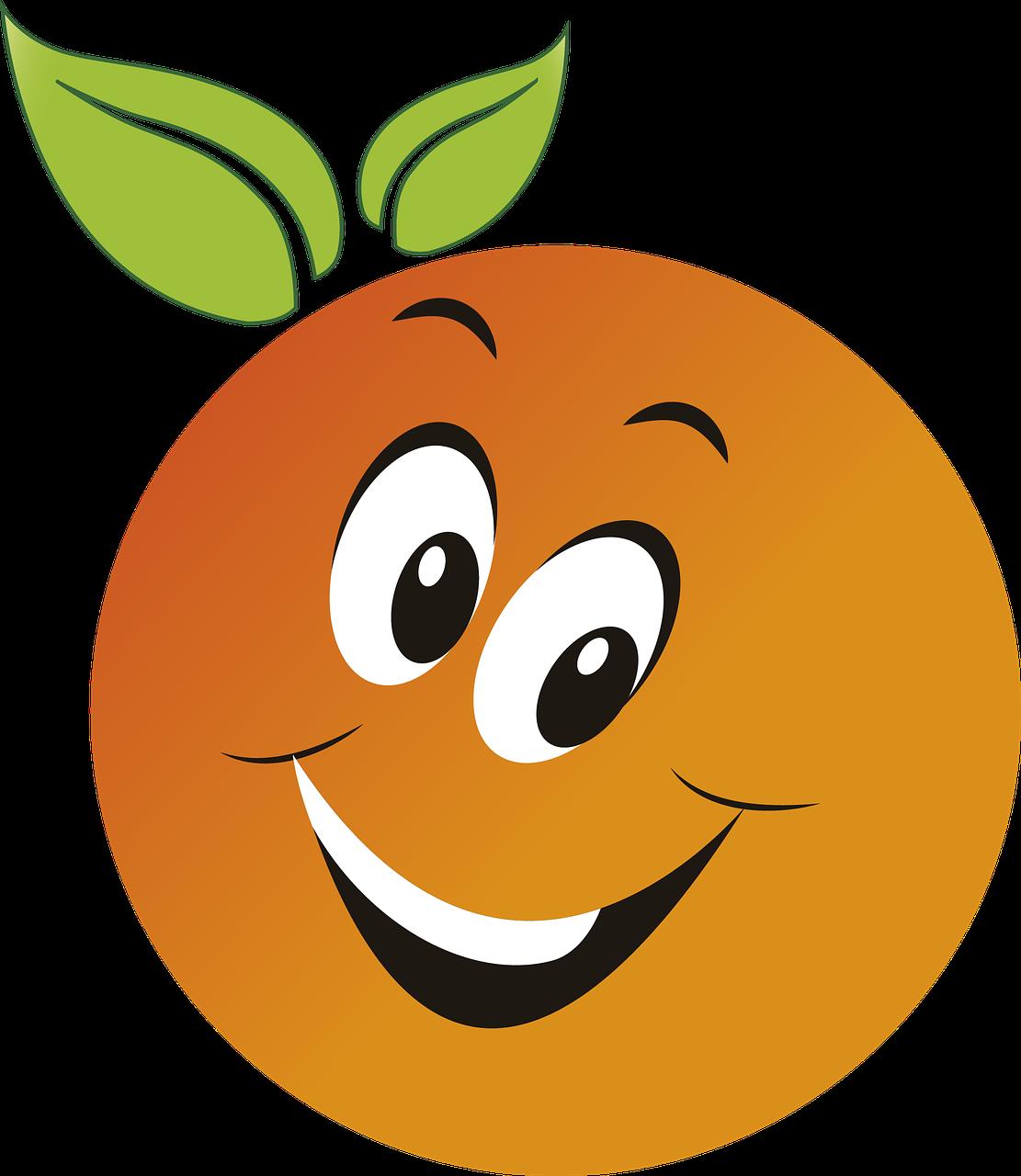Апельсин картинка для детей с глазками