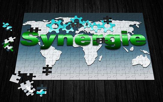 相乗効果, 世界の地図, 歯車, ビジネス, 提供します, 協力, 契約