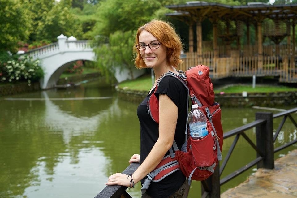 Woman, Tourist, Tourism, Backpack, Bag, Orange