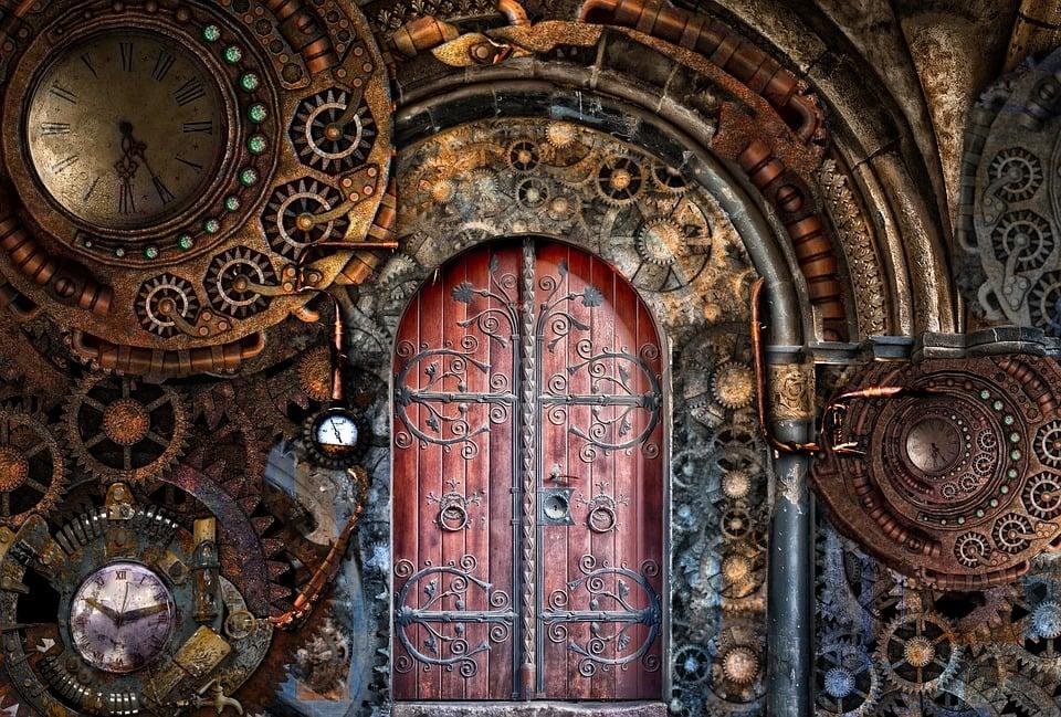Steampunk, Engranajes, Tuberías, Latón, Puerta, Tiempo
