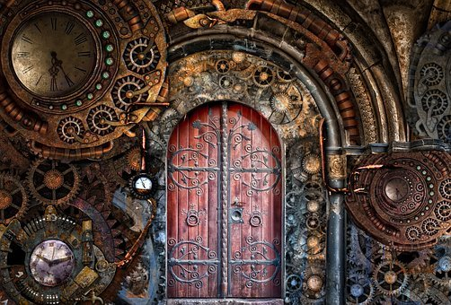 Steampunk, Gears, Pipes, Brass, Door
