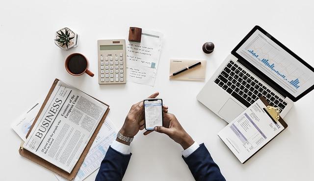 ビジネス, ドキュメント, スマート フォン, オフィス, アプリケーション, 金融, Flatlay, 手