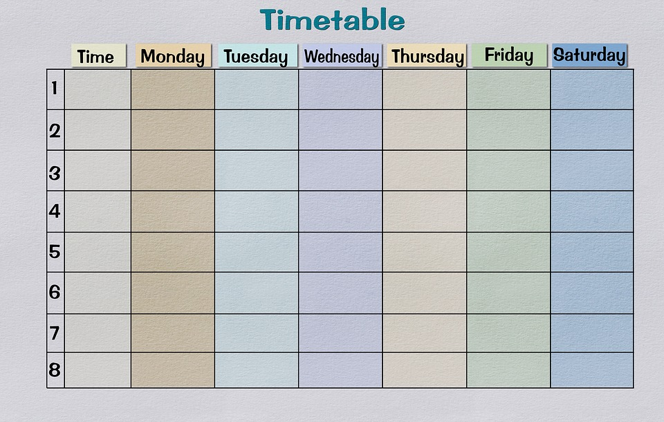 Timetable Paper Print Template · Free image on Pixabay