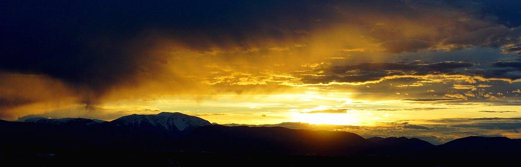 Panorama, Sunset, Nature, Sky, Sun