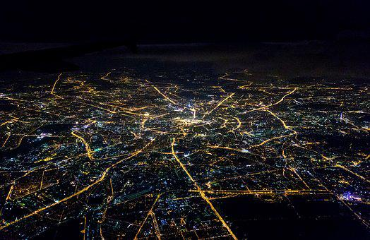 Moscow, Night, Map, Plane, View, Air