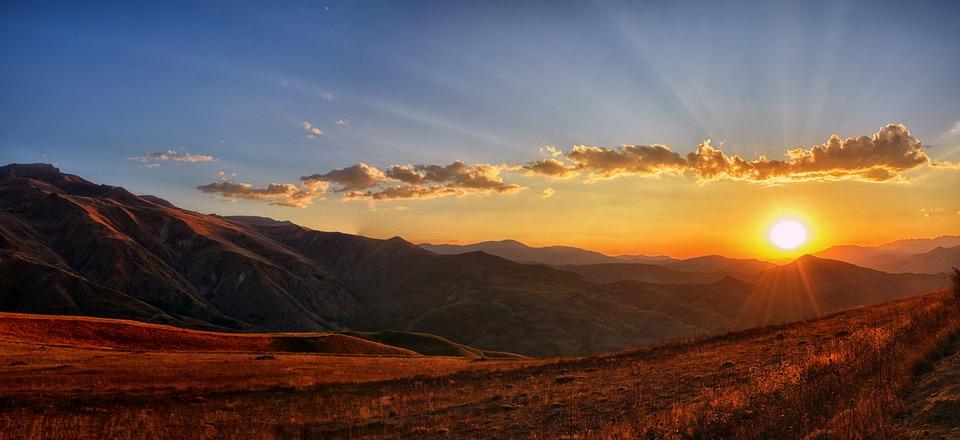 Panoramic, Sunset, Dawn, Nature, Mountain, Landscape