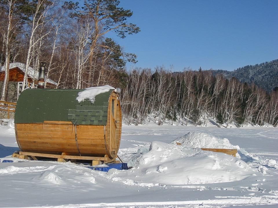Het Baikalmeer, Sauna, Bevroren Meer, Sneeuw
