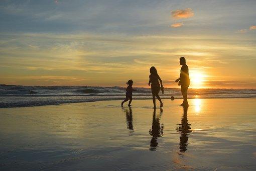 シルエット, 日没, 夕暮れ, ビーチ, 家族, 幸福, 休暇