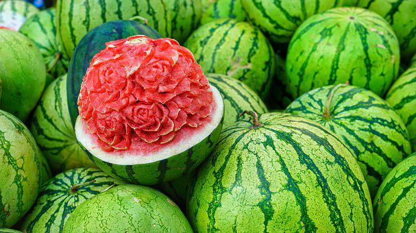 Water, Melons, Display, Carved, Flower