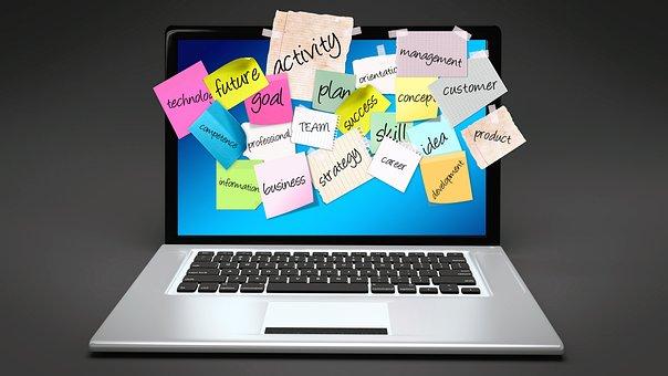 掲示板, ノート パソコン, コンピューター, 付箋, ポストで, リスト