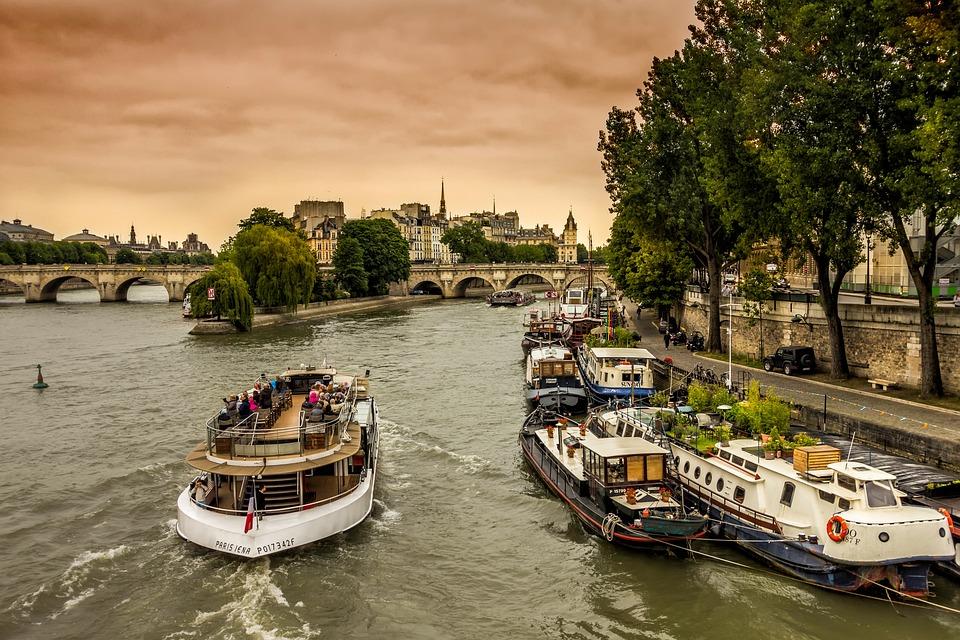 Paris, Seine, Péniche, Ville, Perspective, Pont, Bateau