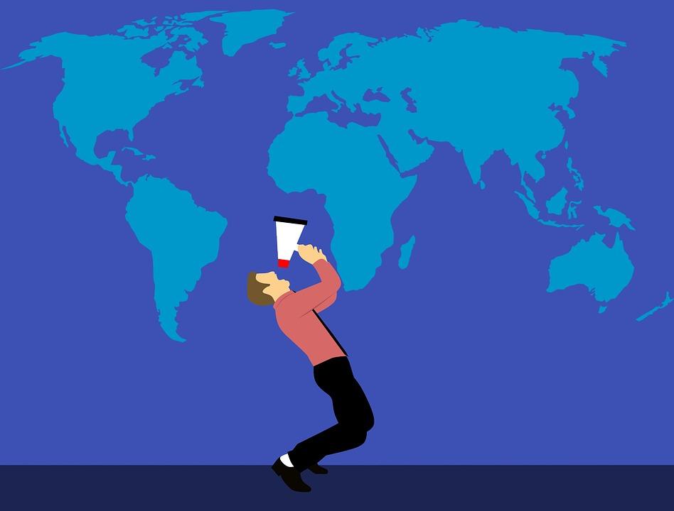 World Map, Marketing, Megaphone, Man, Job, Loudspeaker