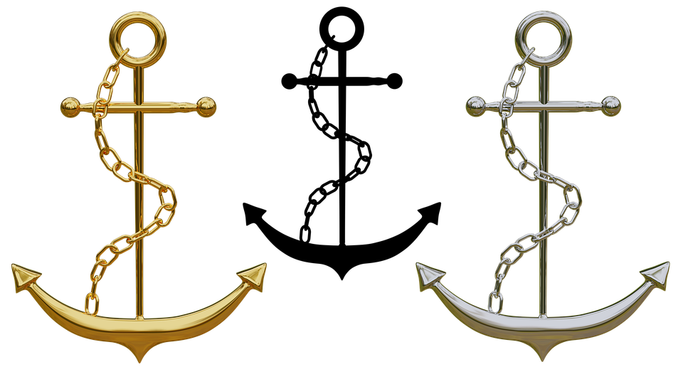 Anchor Trailers Jewellery Isolated Gold Silver