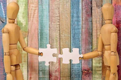 チームワーク, 一緒に収まる, 一緒に, 手で, 接続, 協力, 手, 維持