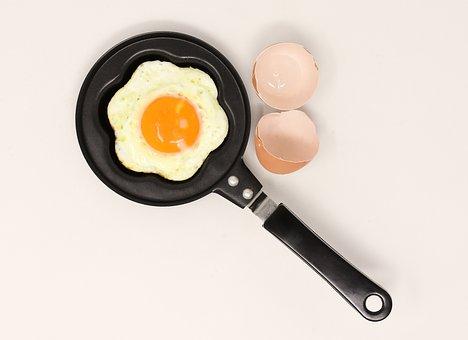 油で揚げた, パン, 食べる, フライ, 卵黄, 食品, 揚げ卵, フライパン