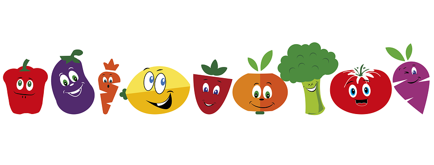 Comida, Frutas, Caricatura, Alimentos