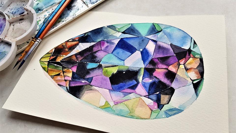 アート, 絵画, 水彩, 紙, ブラシ, 色, 宝石