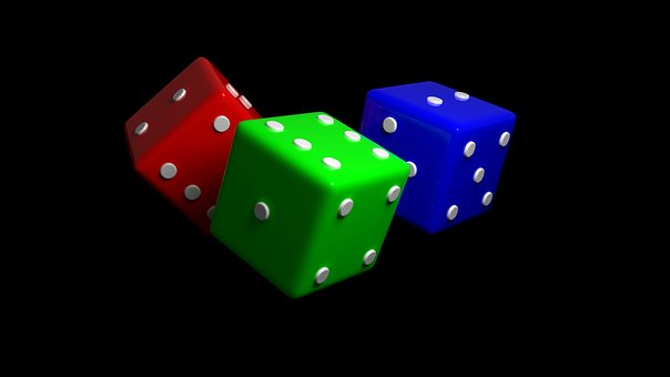 Dice, Cube, Red, Blue, Green, 3 Dice