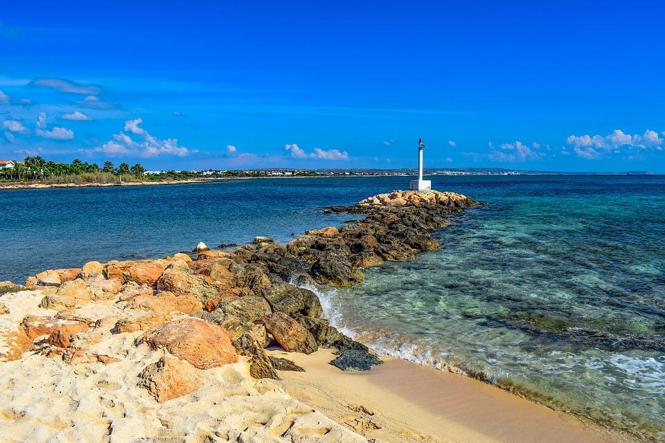 Beach, Coast, Sea, Beacon, Landscape, Potamos Liopetri