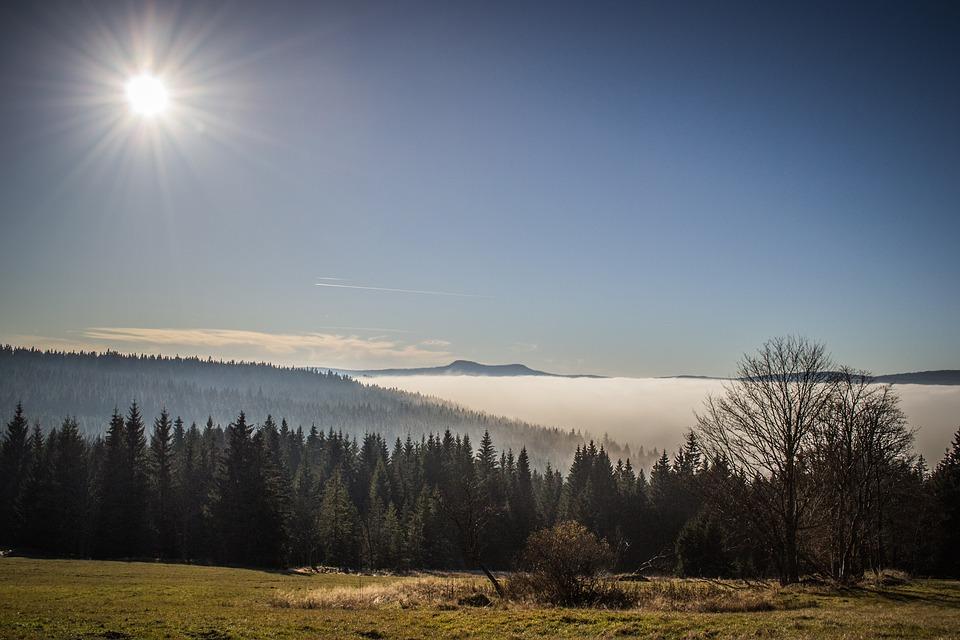 Inverze, Šumava, Krajina, Panorama, Slunce, Lesy