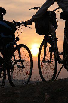 Bicycles, Sunset, Tour, West, Evening