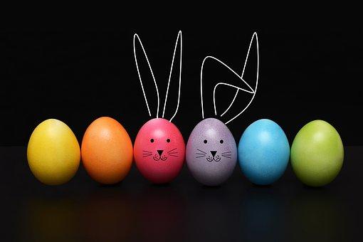 イースター, 卵, イースターエッグ, ウサギ, 耳, おかしい, 色, 休日