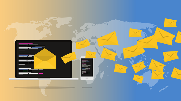 Drawing of dark computer and iphone screens with emails in yellow envelopes coming out of them against a blue and sandy background