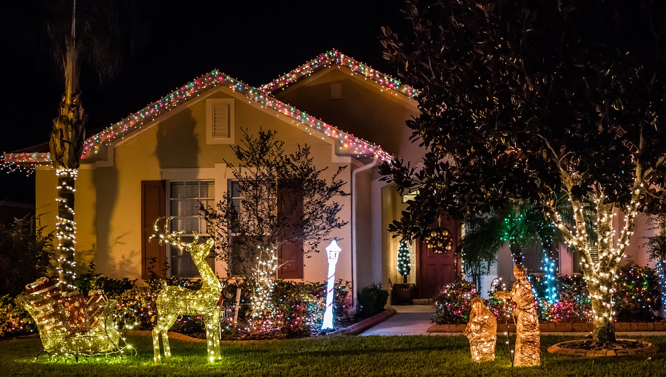 Architecture, House, Christmas Night, Lights