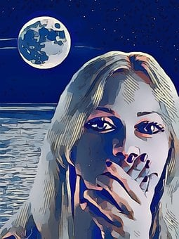 Moon, Woman, Scared, Frightened