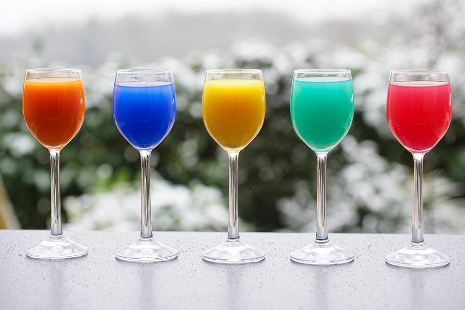 Коктейли, Напитки, Соки, Сок Стекла, Красочные Drinks