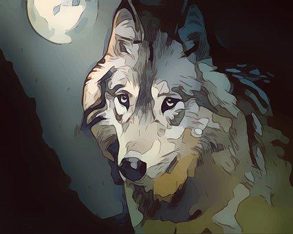 Wolf, Completo, Luna, Fantasia, Animale