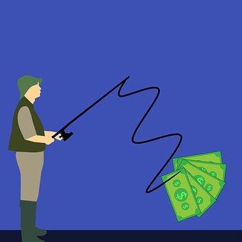 Dinheiro, Peixes, Pesca, Gancho