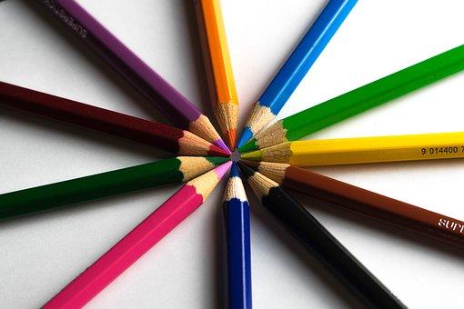 鉛筆, 教育, 創造性, クロス, 書きます, 学校, 色鉛筆, 木, マルチ色