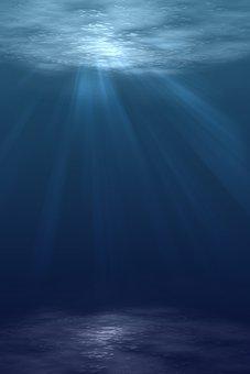 海, 水, 日光, 波, 暗い, 嵐, 青, 海の底, 水中, ダイビング, 線