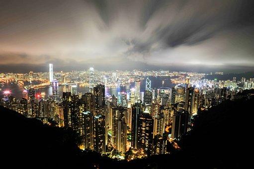 都市, 超高層ビル, 水平線, ビジネス地区, のための, 照明, 旅行するには