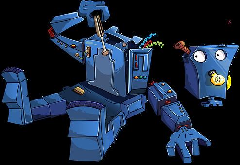 ロボット, 逆アセンブル, ブルー, 電球, 漫画, アンテナ