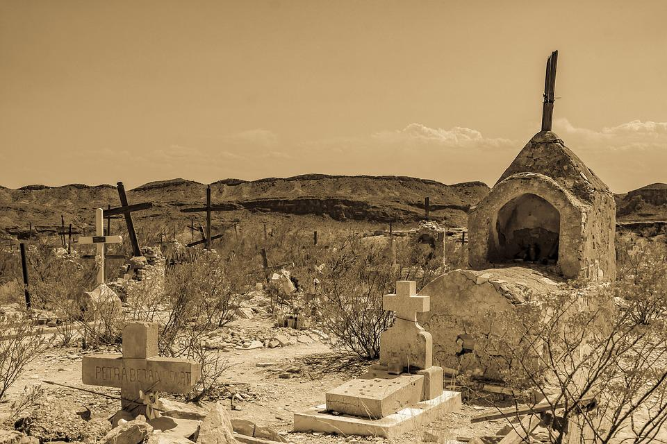 Ősi, Temető, Terlingua, Szellem Town, Grave, Tomb