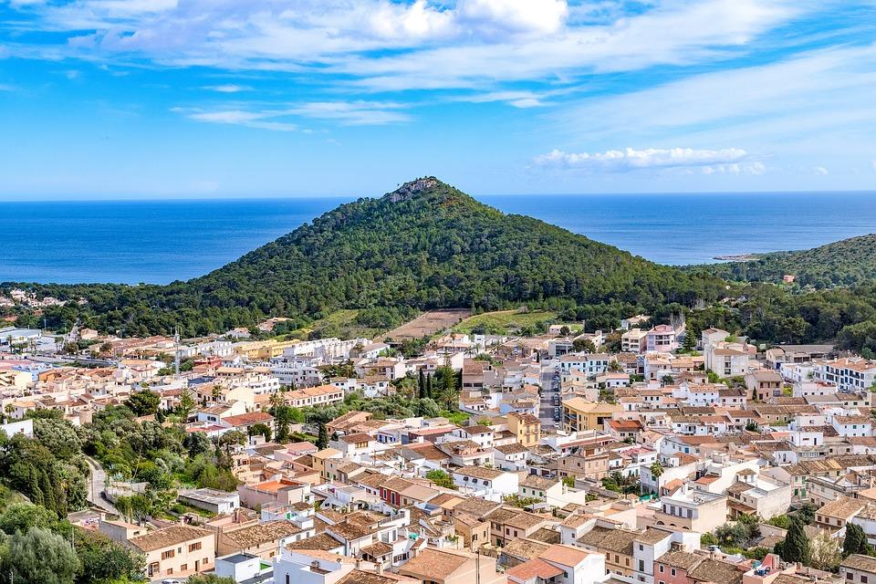 マヨルカ, カプデペラ, から眺める城, 市, パノラマ, 旅行, アーキテクチャ, 観光