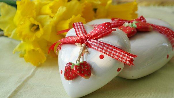 Coeur, Amour Cadeau, Jonquilles, Pâques