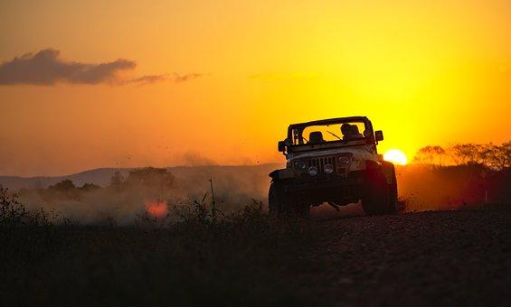 Jeep, Drifting, Dust, Sunset, Dusk
