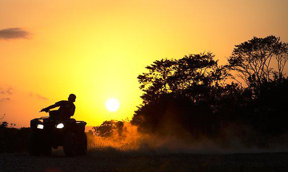 Quad, Drifting, Dust, Sunset, Dusk