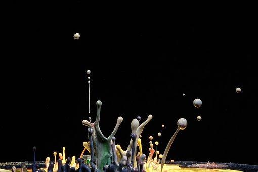 Drops, Movement, Paints, Bubbles