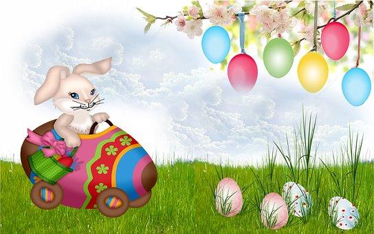Pasen, Konijn, Easter Egg, Gazon