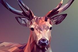 Deer, Polygons, Art, Design